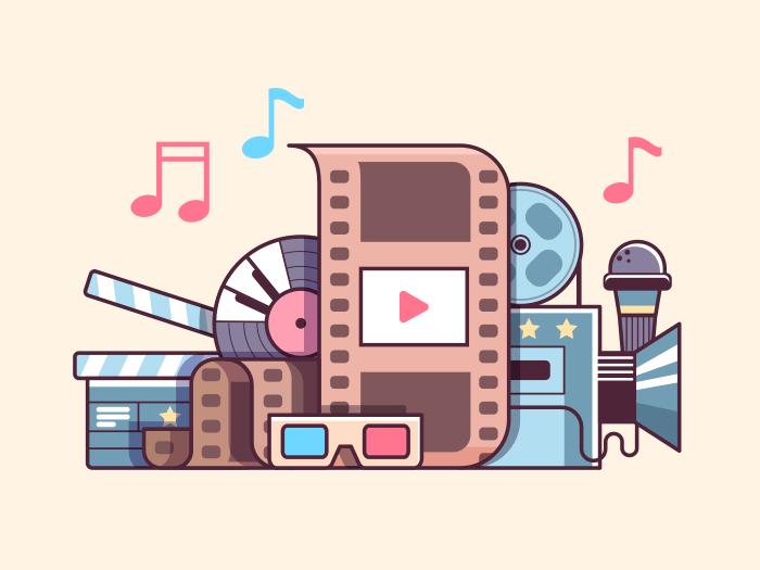 Cinema line vector illustration