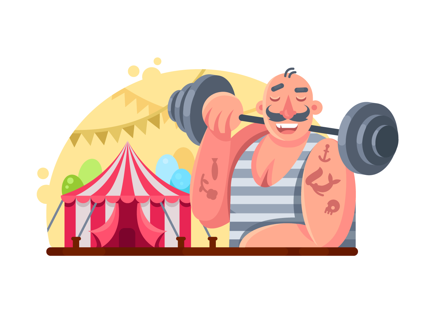 Funny circus weight lifter illustration