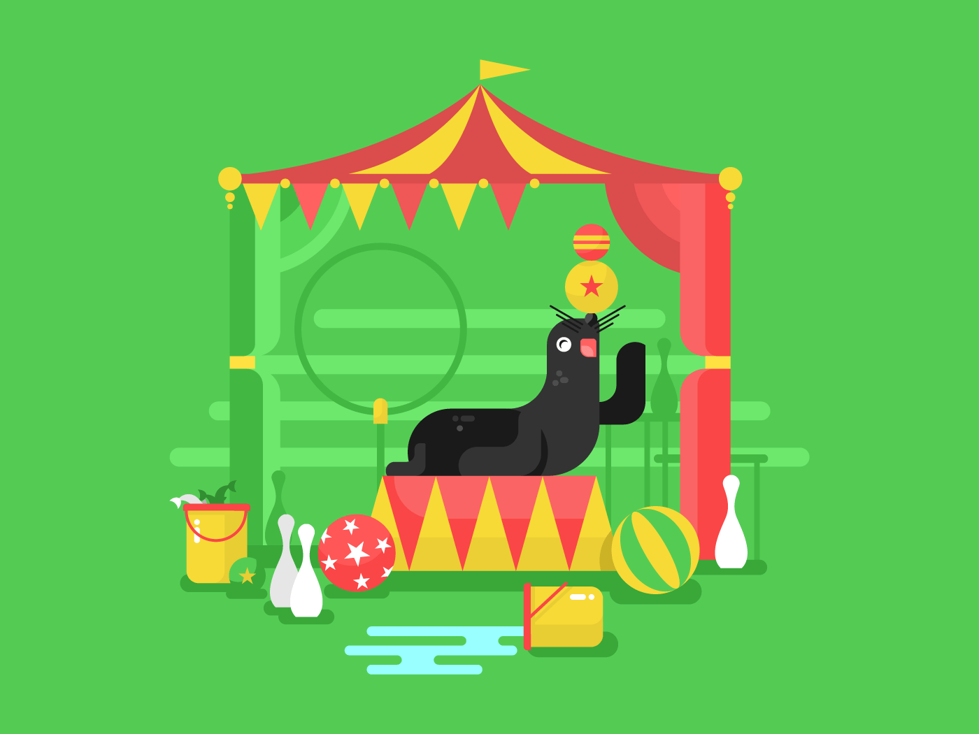 Fur seal in a circus flat vector illustration