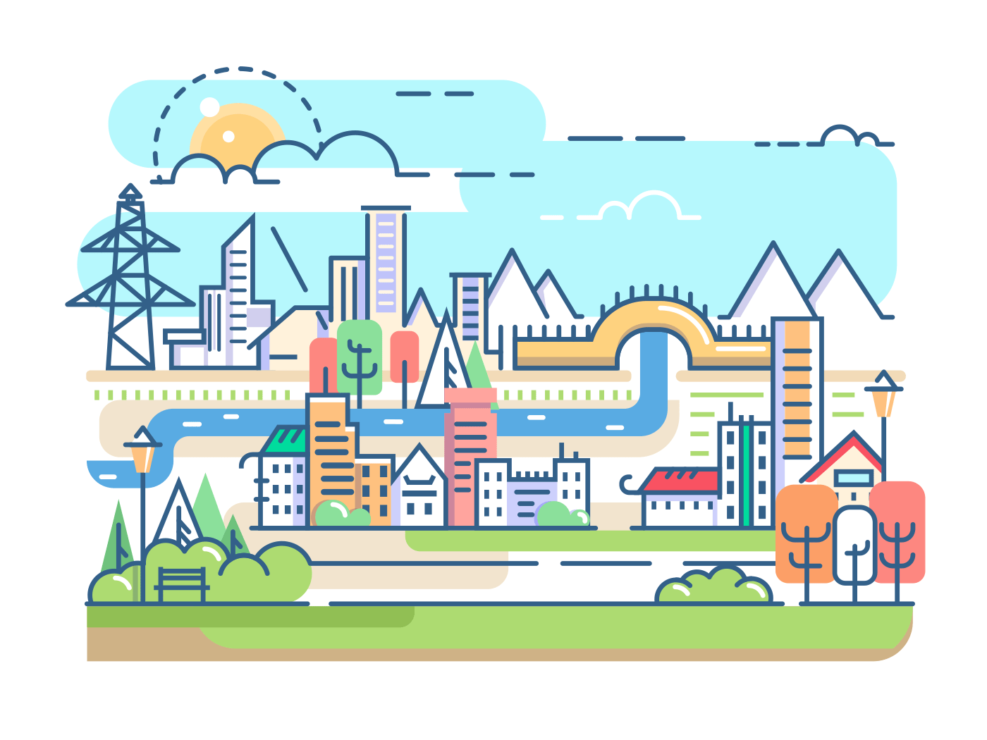 City with river and dwellings vector illustration