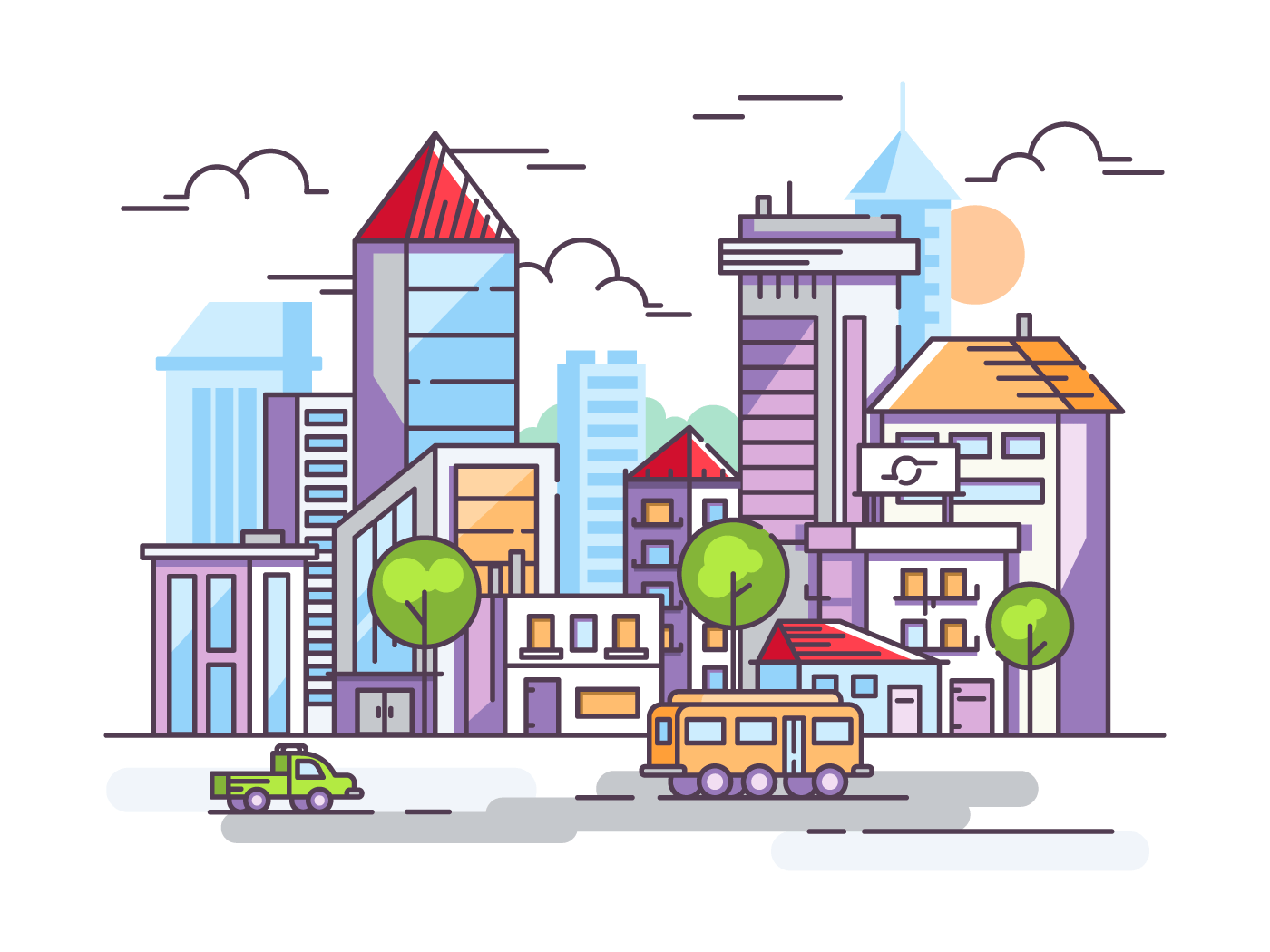 City street with tall houses and cars. Urban infrastructure in a linear style. Vector illustration