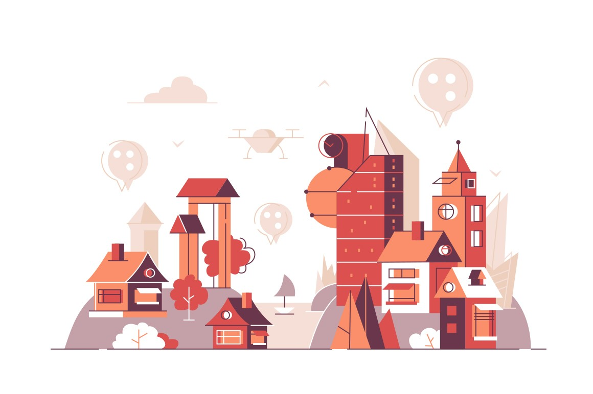 City buildings with location pins on top vector illustration. Urban landscape with geolocation signs flat style concept. Technology of mobile navigation service concept