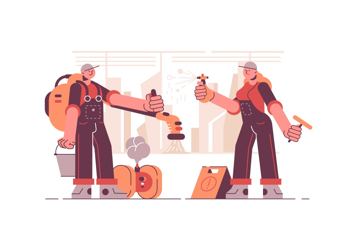 Cleaning services company vector illustration. Man and woman in uniform with special equipment, tools, detergents and supplies for room cleanup flat style design