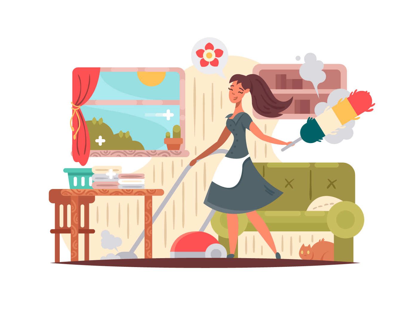 Girl housekeeper cleans apartment illustration