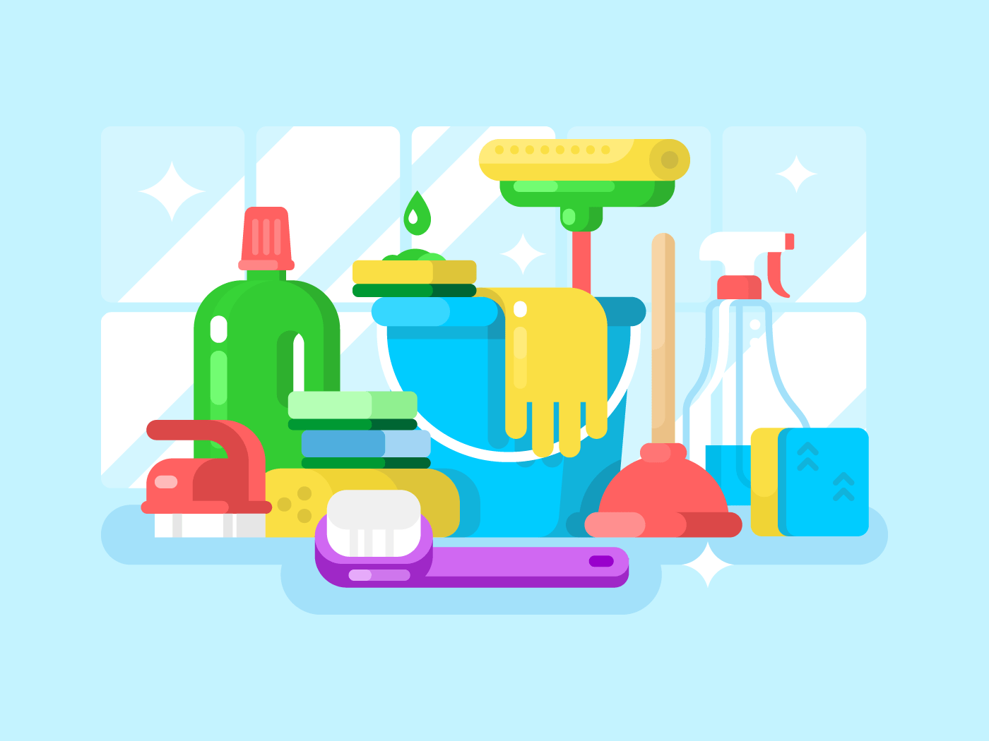Cleaning tools and detergent flat vector illustration