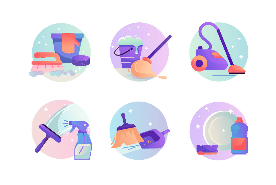 Set icons with vacuum cleaner, scoop and broom, detergent, cleaning.