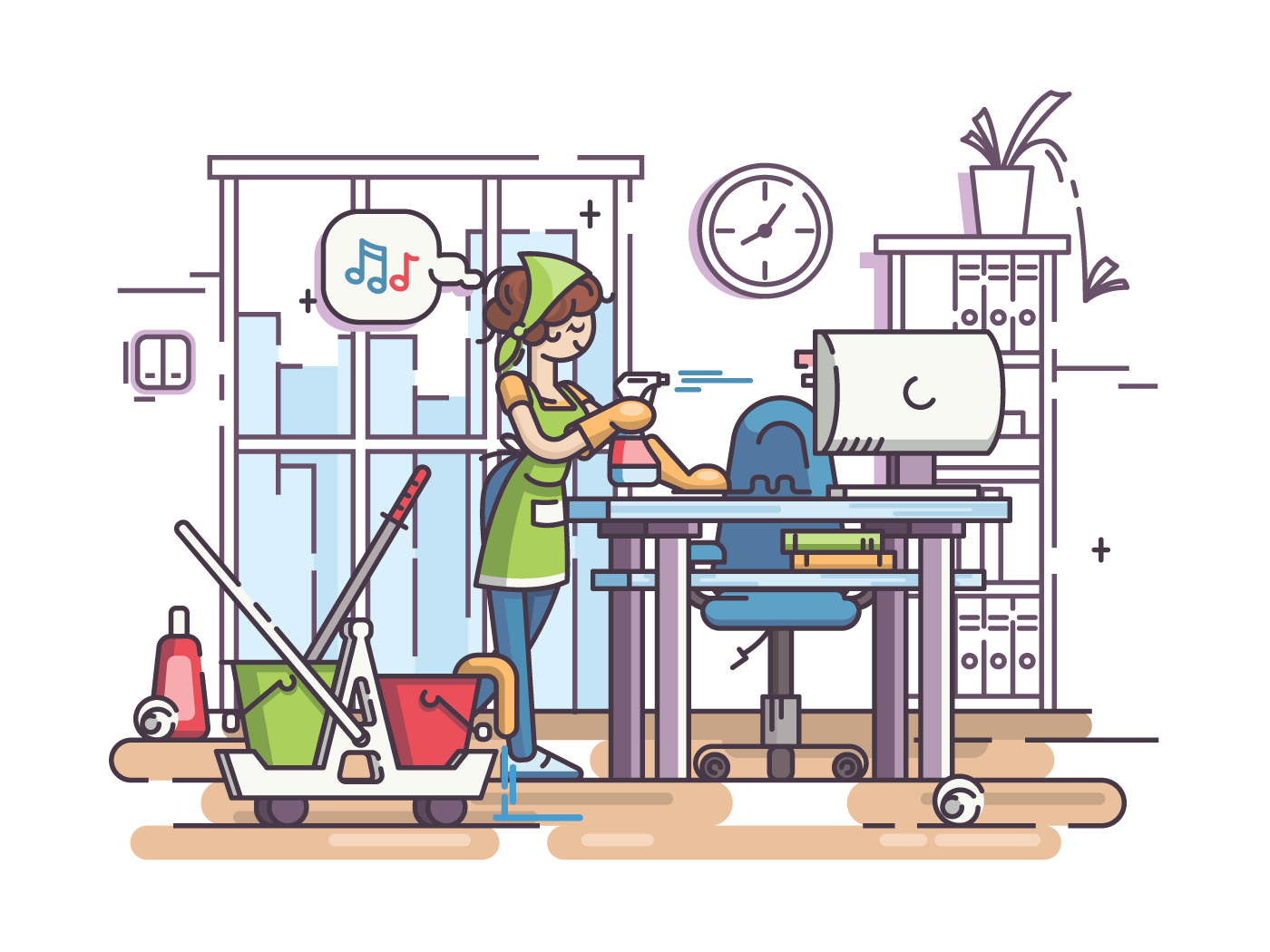Young cleaning woman cleans, wipes dust in office workplace. Vector illustration