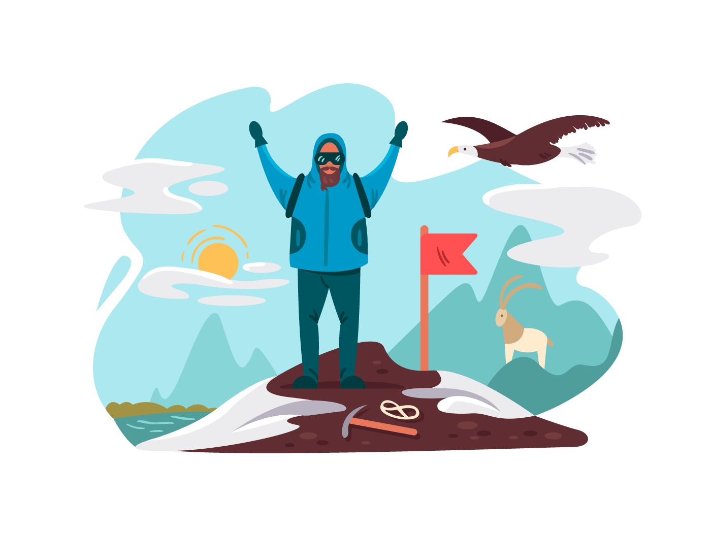 Happy mountaineer on top mountain illustration