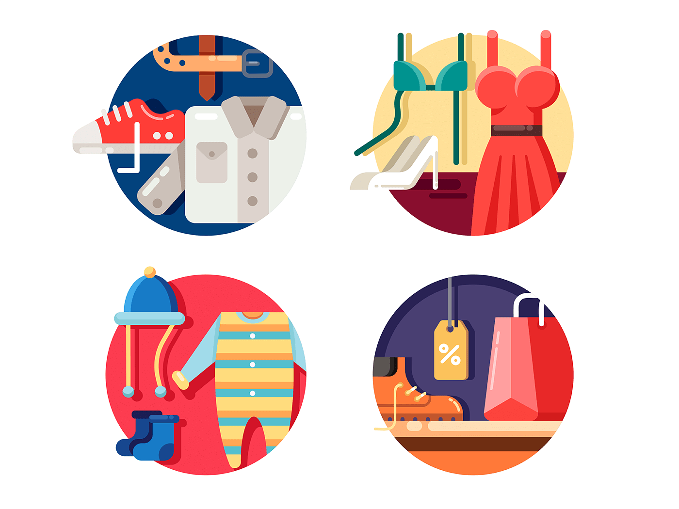 Man woman and childrens clothing icons