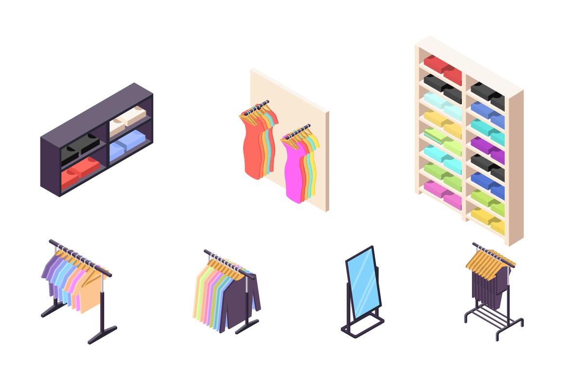Isometric 3d collection isolated urban element of clothing store.