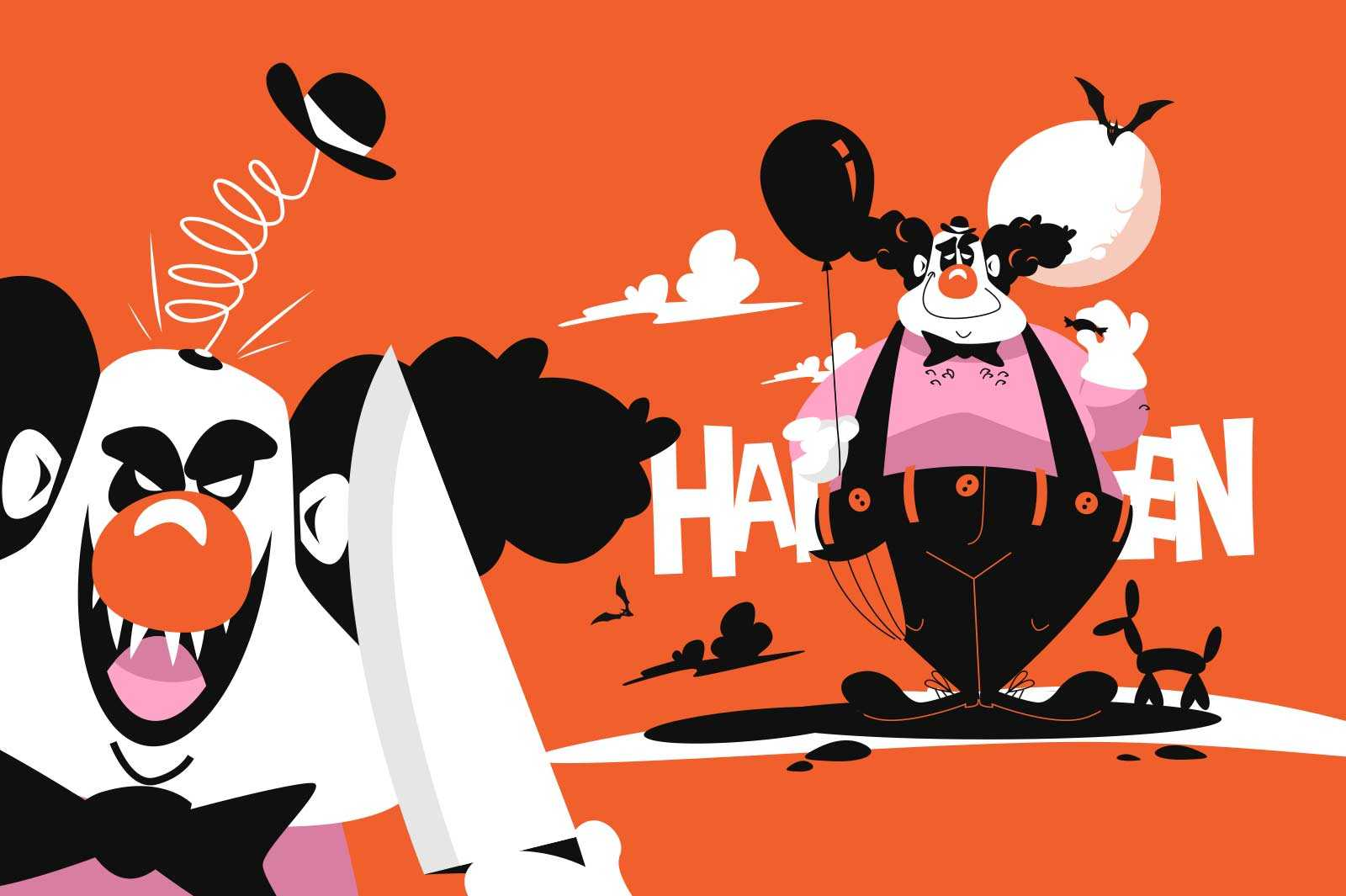 Happy and angry clown vector illustration. Joker in black and white costume with balloon and knife flat style. Autumn holiday and happy halloween concept. Isolated on orange background