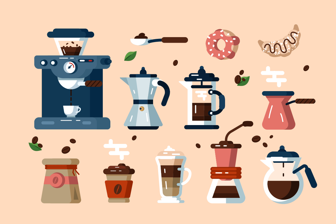 Set of various coffee machines and tools vector illustration. Collection of different hot beverage cooking attachments and devices flat style design. Cheerful morning concept. Isolated on pale beige