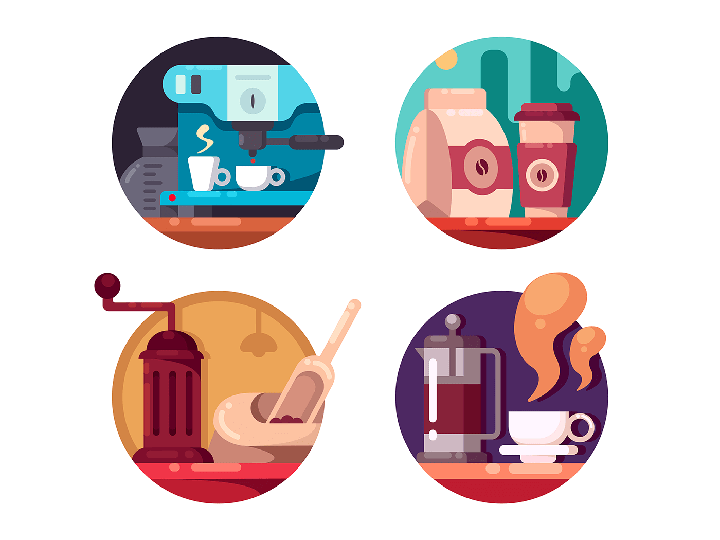 Hot invigorating coffee icons