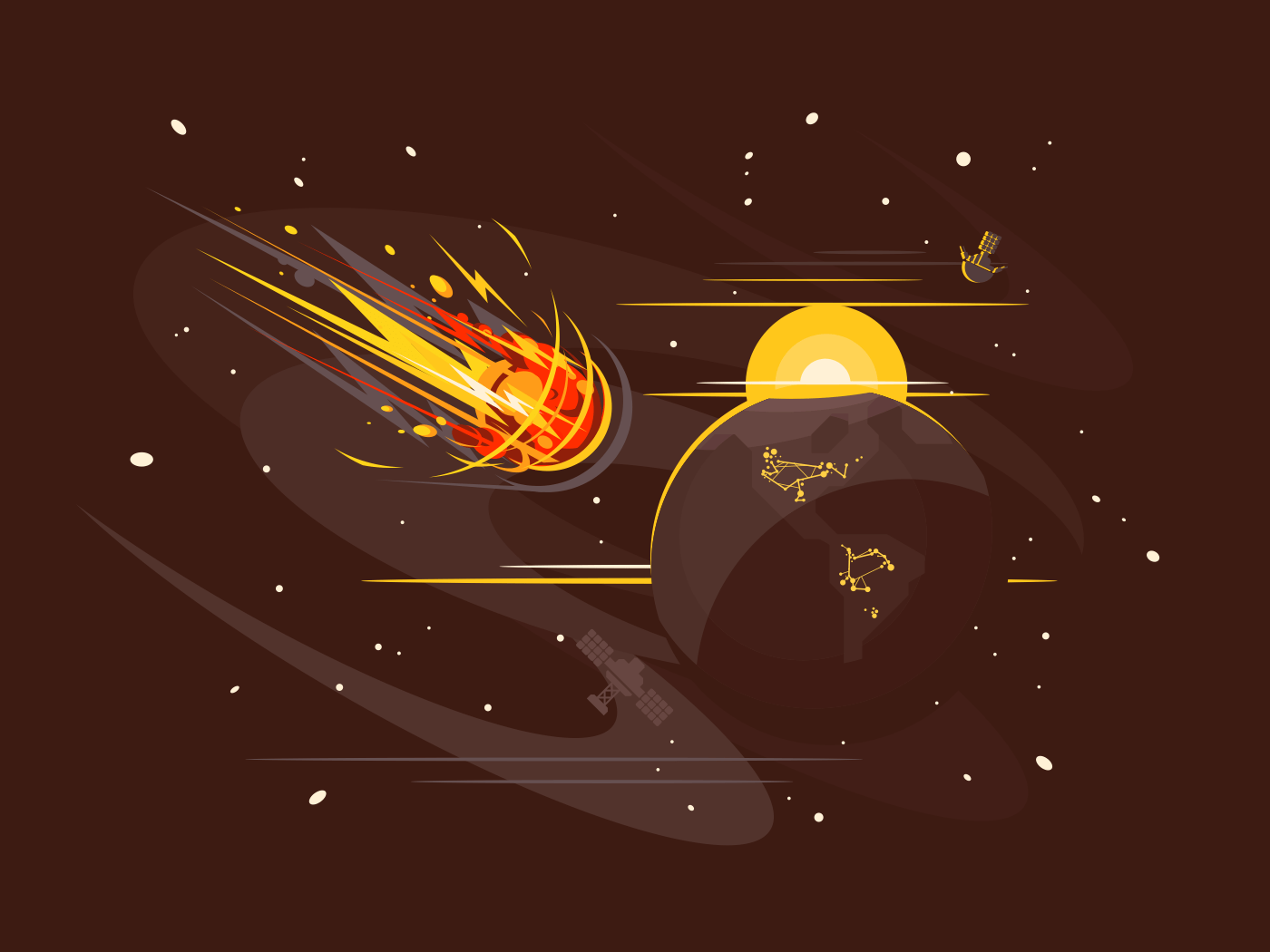 Burning comet in space illustration