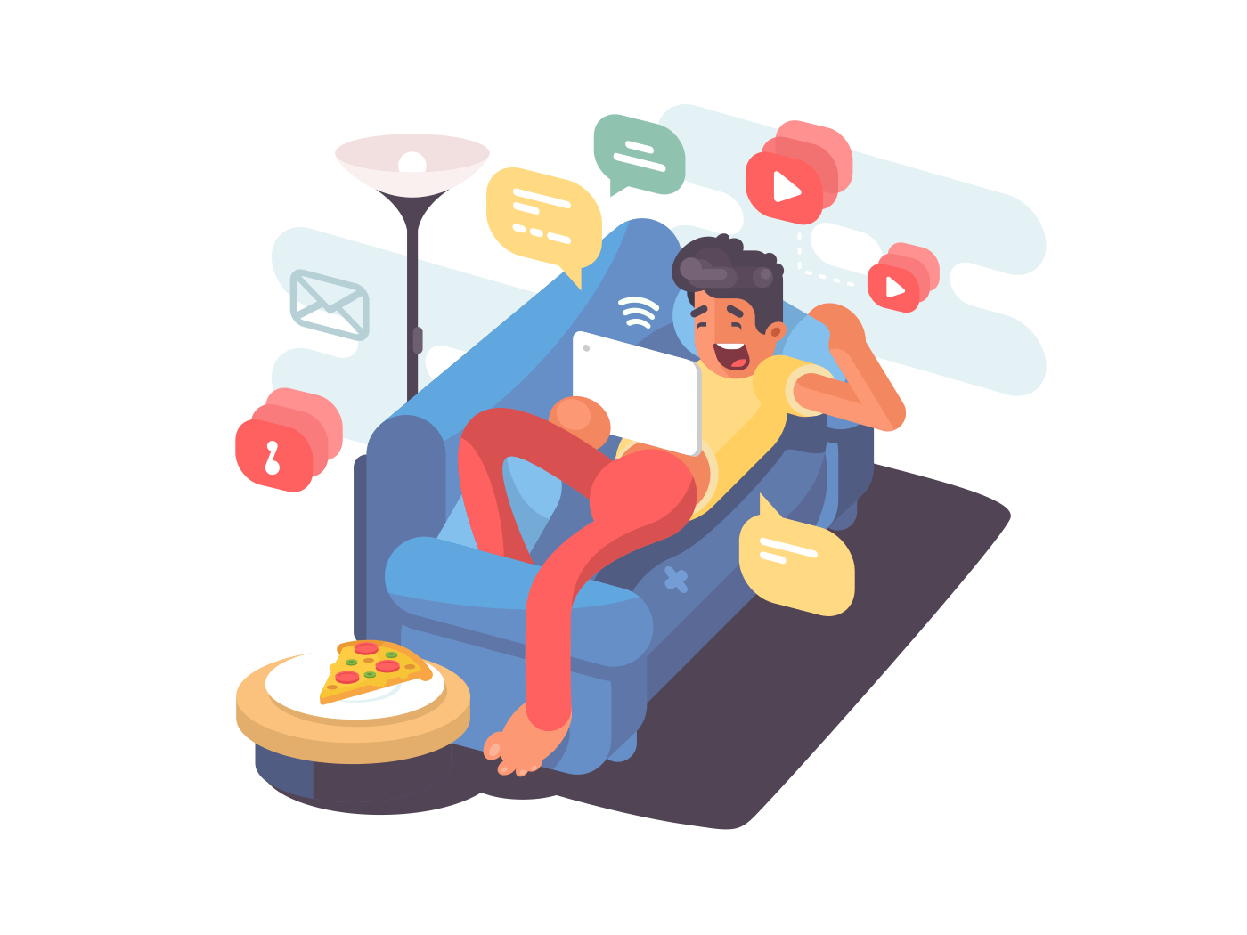 Man lying on couch with tablet illustration