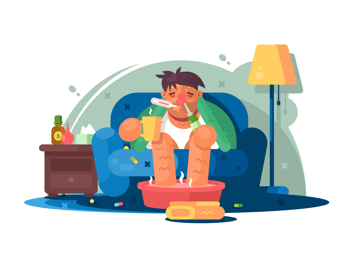 Man sick with cold illustration