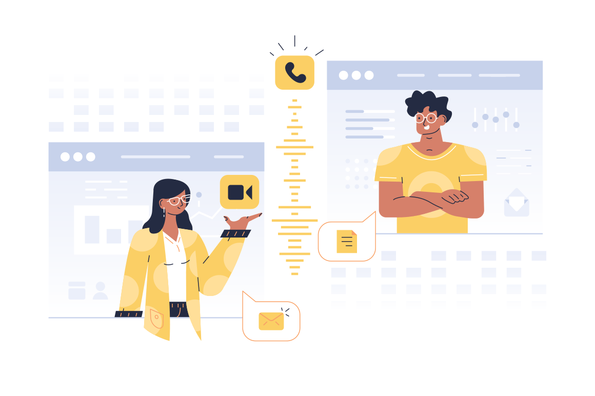 People communication in windows vector illustration. Man and woman messaging talking video calling via internet app flat style design. Modern technology concept