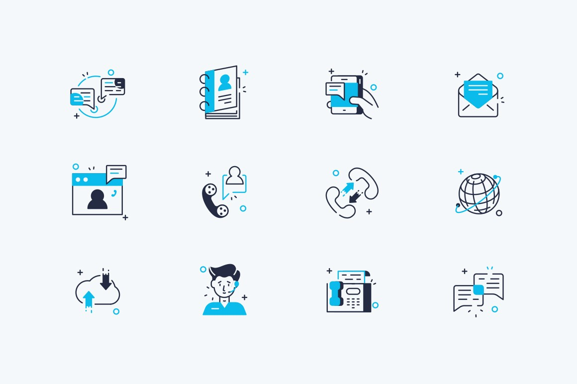 Communication line icons set vector illustration. Collection consists of online messaging, mail, phone, envelope, group chat, video call, notification flat style concept. Isolated on white