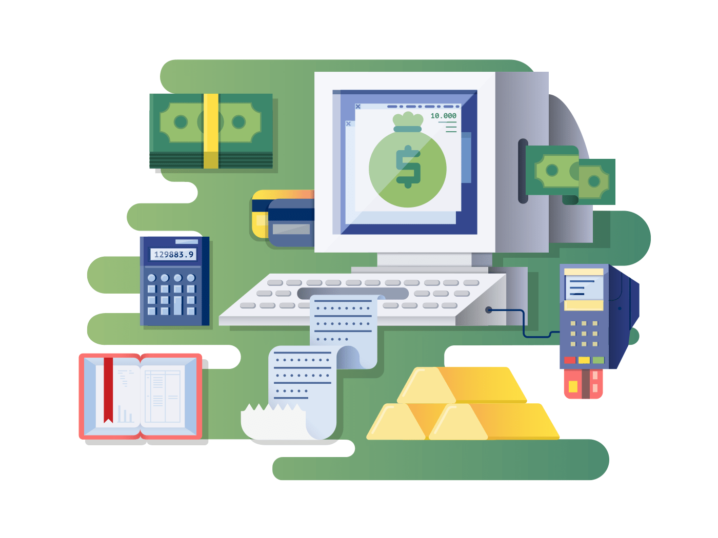 Financial computer illustration