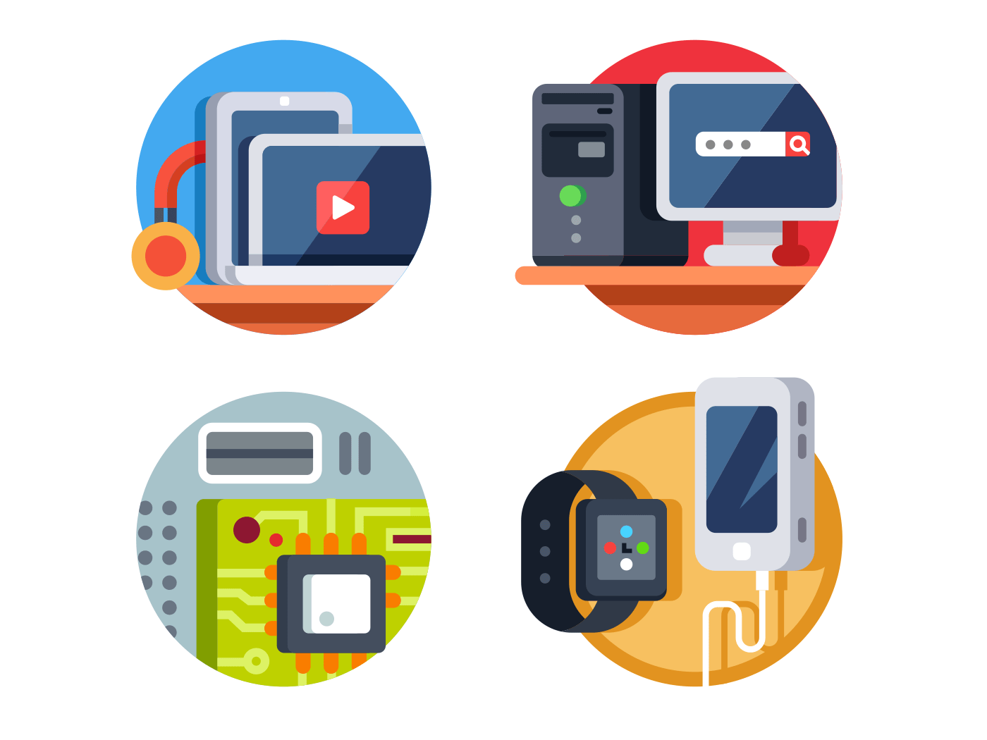 Computer device set vector icons