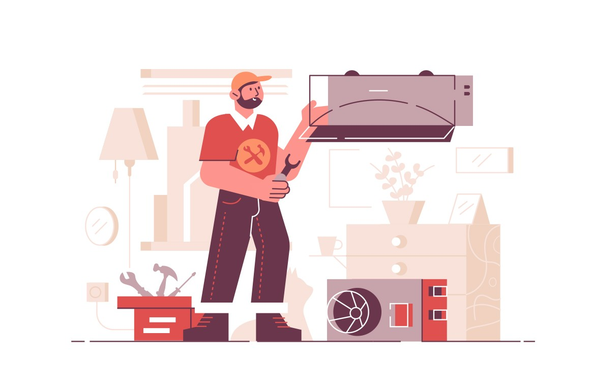 Air conditioning repair service vector illustration. Repairman examining and repairing conditioner with special tools and equipment flat style concept