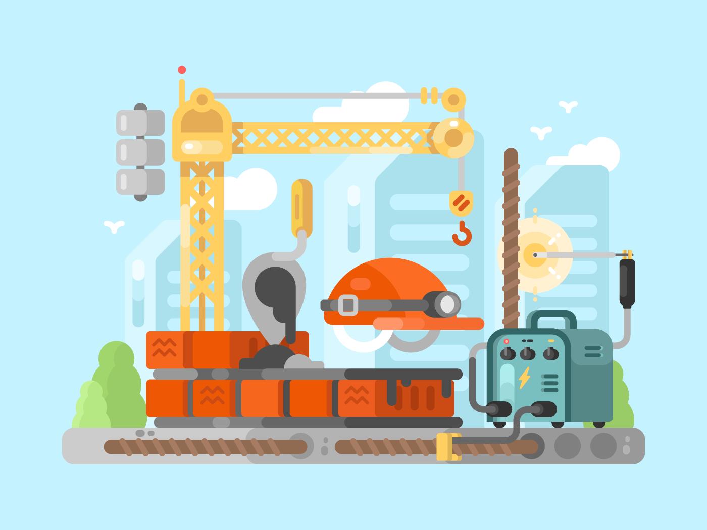 Construction site flat vector illustration