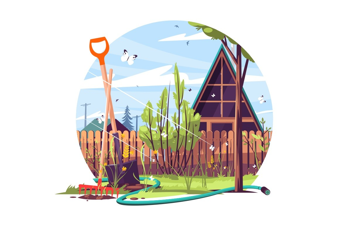 House and garden exterior vector illustration. Bayonet shovel, rake and watering hose in front of building. Trees, flowers and plants flat style concept. Isolated on white background