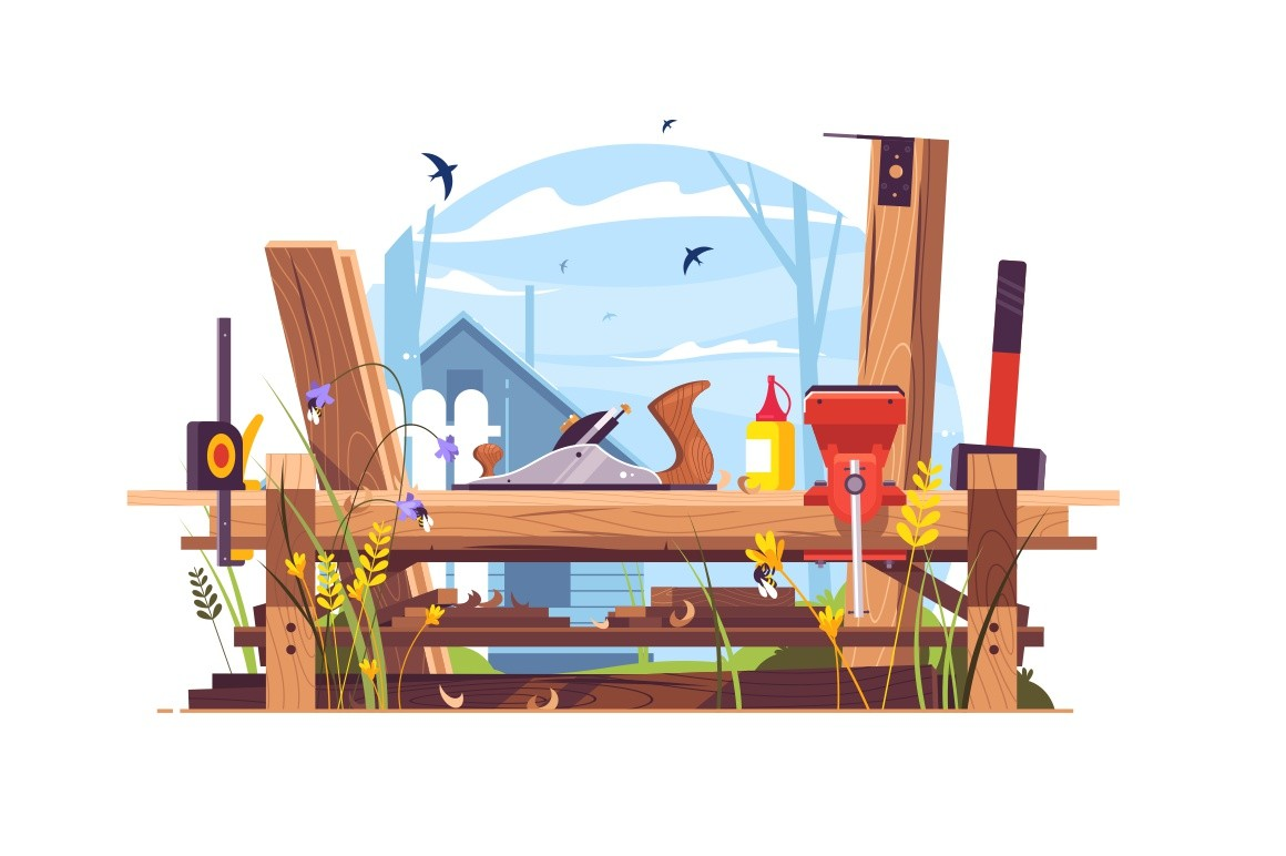 Construction works in country house vector illustration. Woodwork with jack-plane, bench vise, hammer and measuring tape flat style concept. Wooden parts of room or building