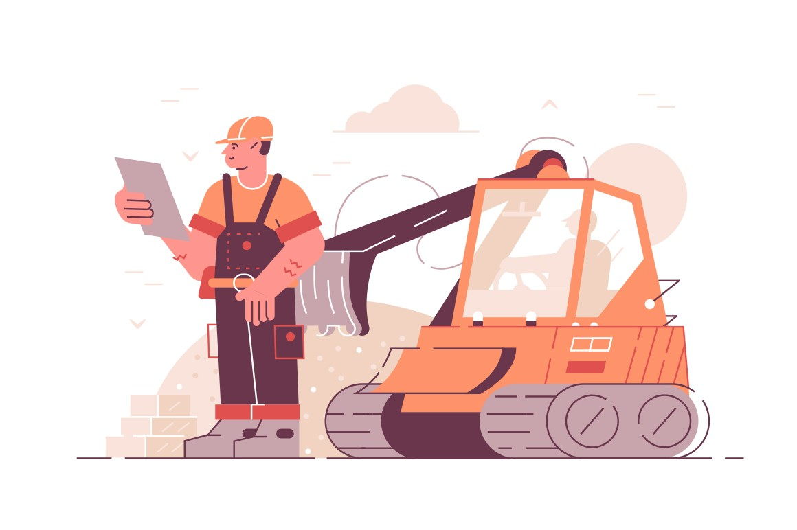 Building construction process vector illustration. Builder in boilersuit and helmet holding project documents flat style concept. Excavator digging ground