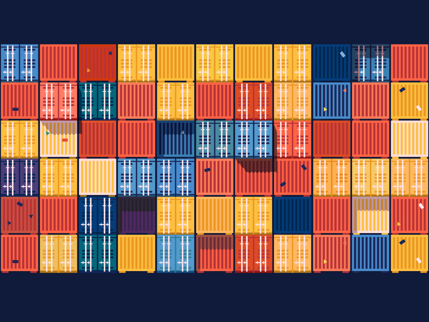 Wall of containers abstract background