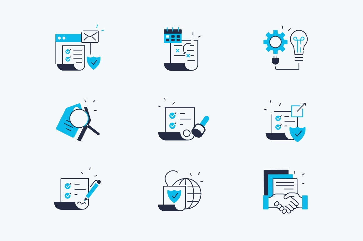 Contract line icons set vector illustration. Collection consist of business agreement symbols negotiating terms, reviewing, verified text, signing and handshaking flat concept. Isolated on white