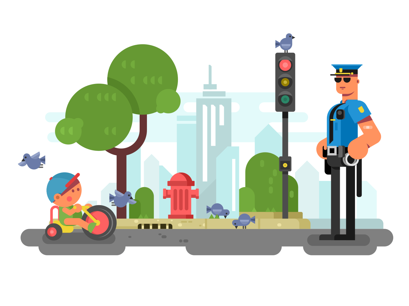 Police officer on the city street flat vector illustration