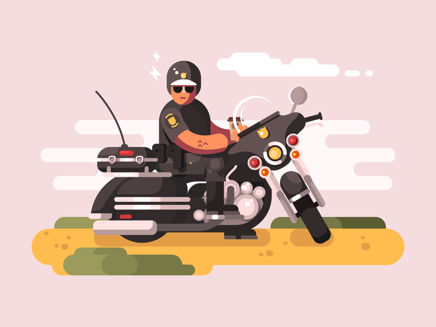 Police officer on motorcycle flat vector illustration
