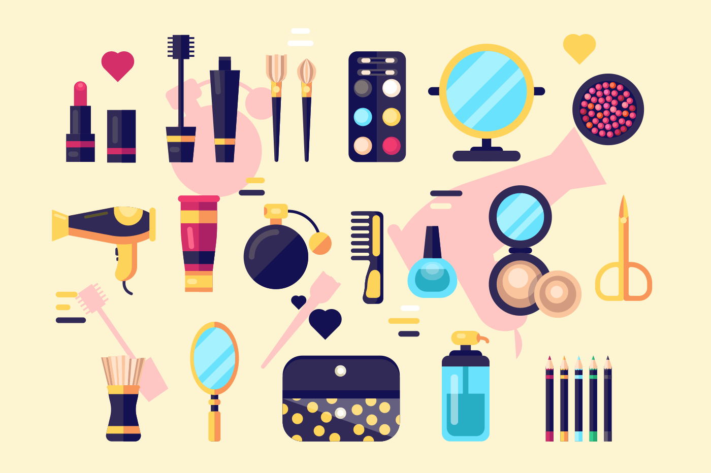 Set of cosmetics beauty and makeup icons. Professional fashion products and accessories collection. Flat. Vector illustration.