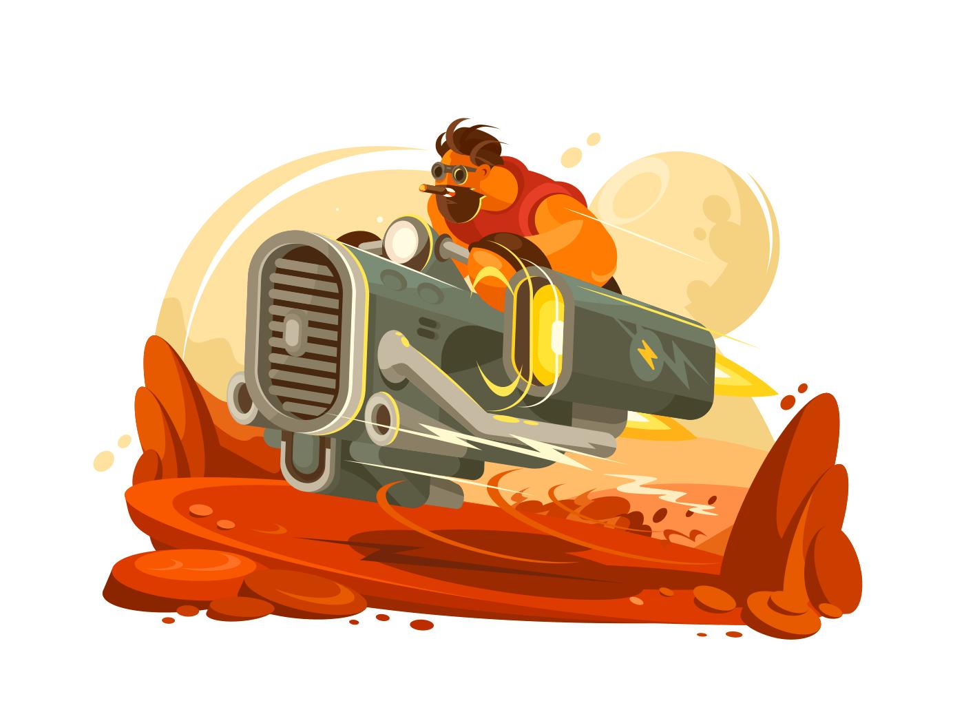 Space traveler explores planet illustration