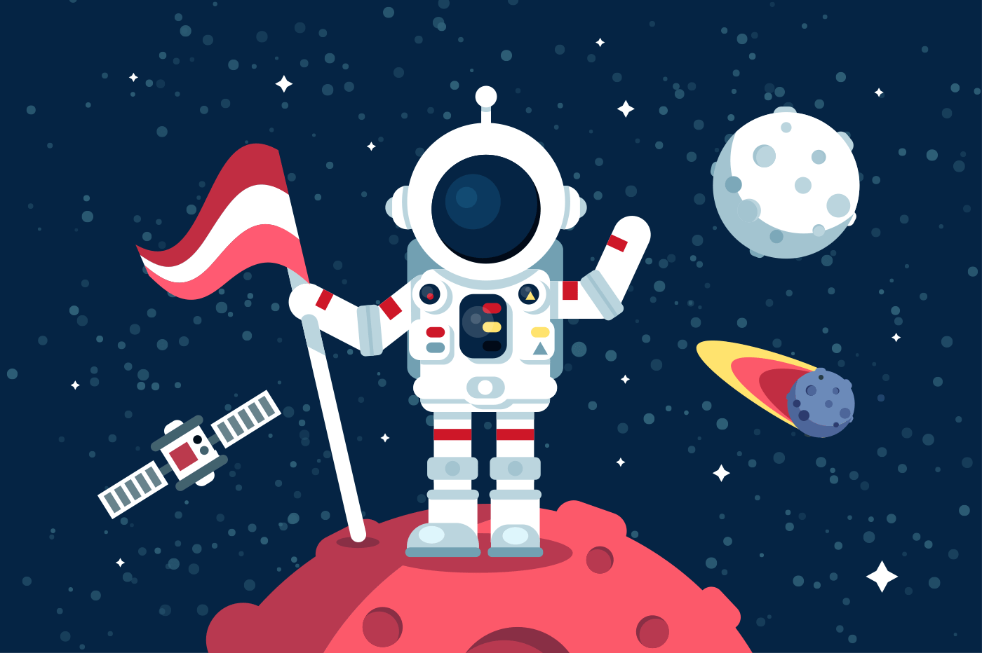 Astronaut in space suit standing on moon with flag. Space walk on lunar surface. Flat. Vector illustration.