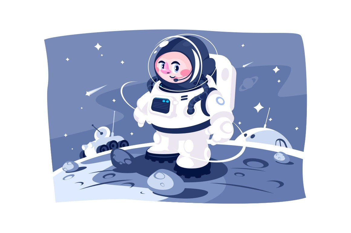 Cosmonaut in spacesuit performing extravehicular activity vector illustration. Astronaut exploring outer space cartoon design. Futuristic clothing for cosmos and galaxy