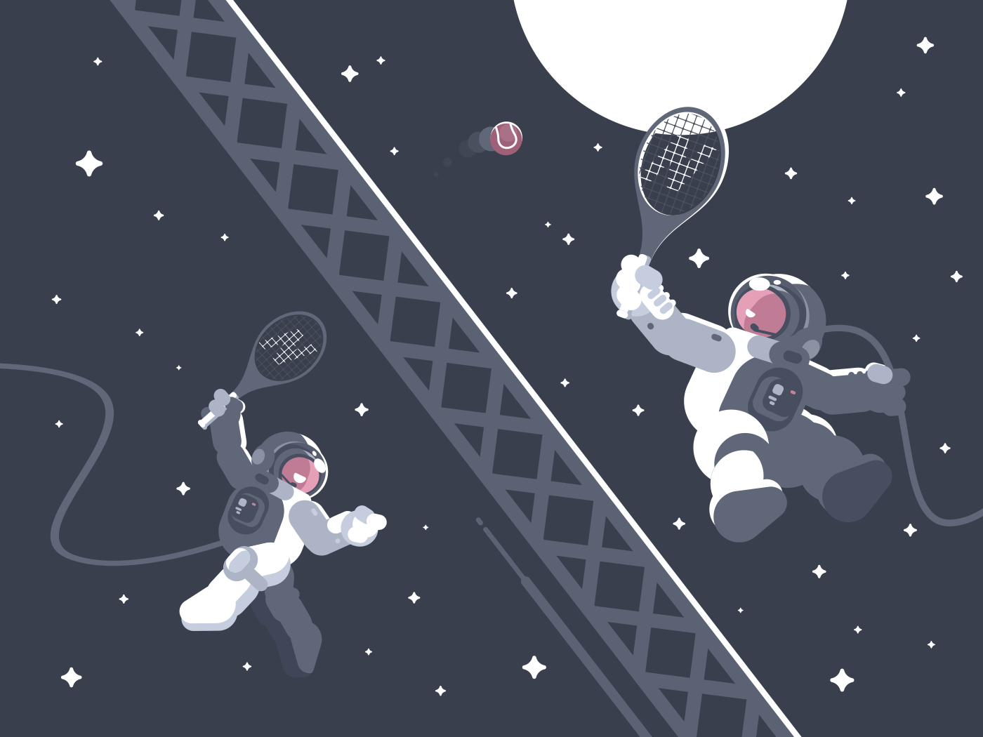 Astronauts playing tennis in outer space. Active sports in weightlessness. Vector illustration
