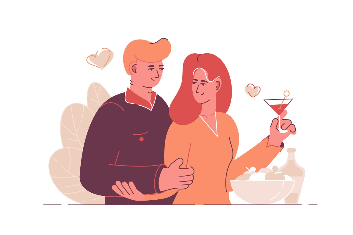 Cute couple in love vector illustration. Man and woman hugging and drinking cocktail. Romantic dinner together flat style design. Hearts symbol on background