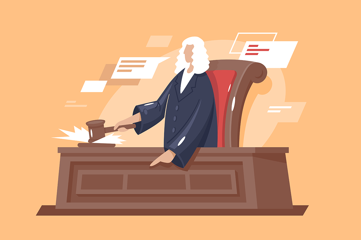 Flat strong man court with hammer judge.