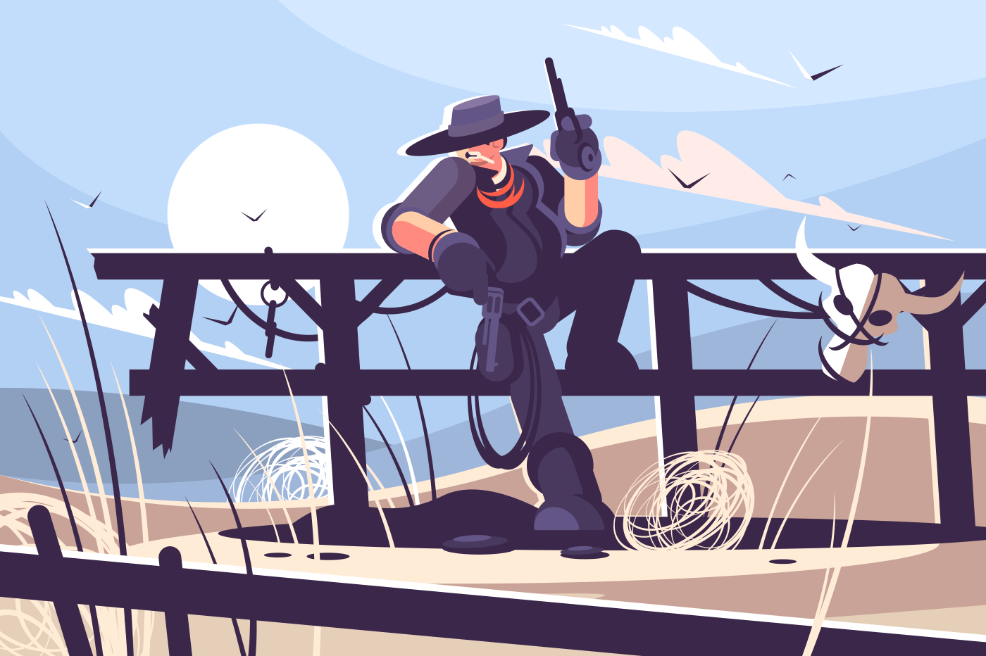Brutal cowboy with hat and revolver. Bandit of wild west. Vector illustration