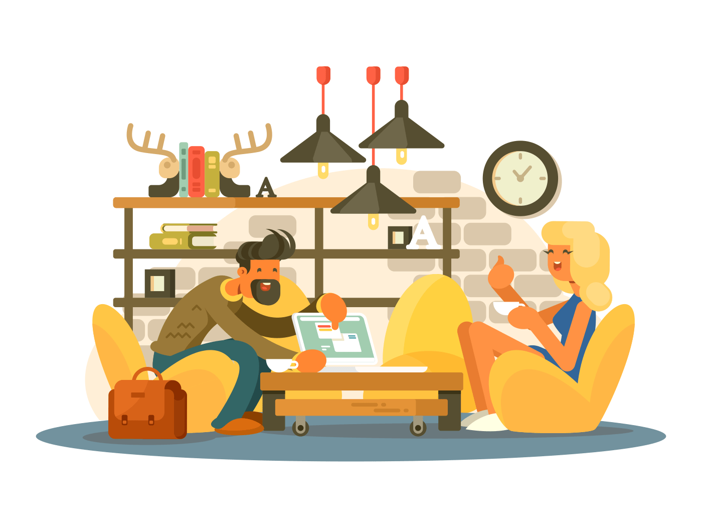 Coworking office work illustration