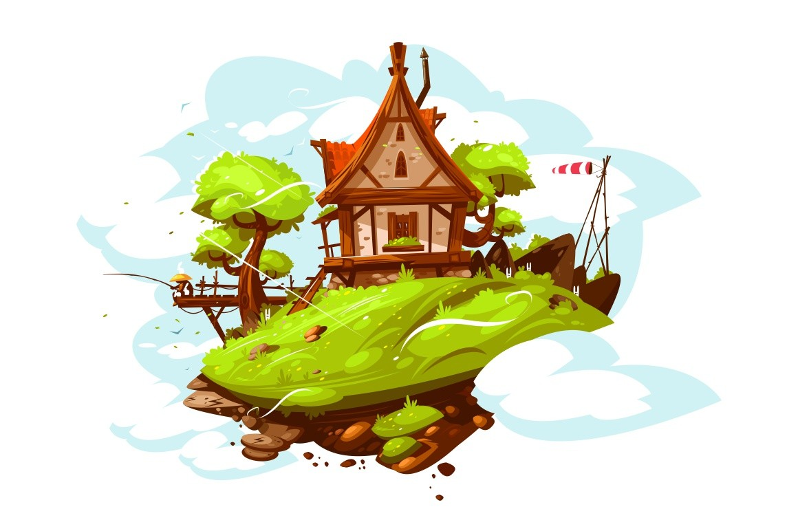 Cozy house in village vector illustration. Country cottage by river flat style design. Man fishing on footbridge. Picturesque landscape with green nature and blue sky