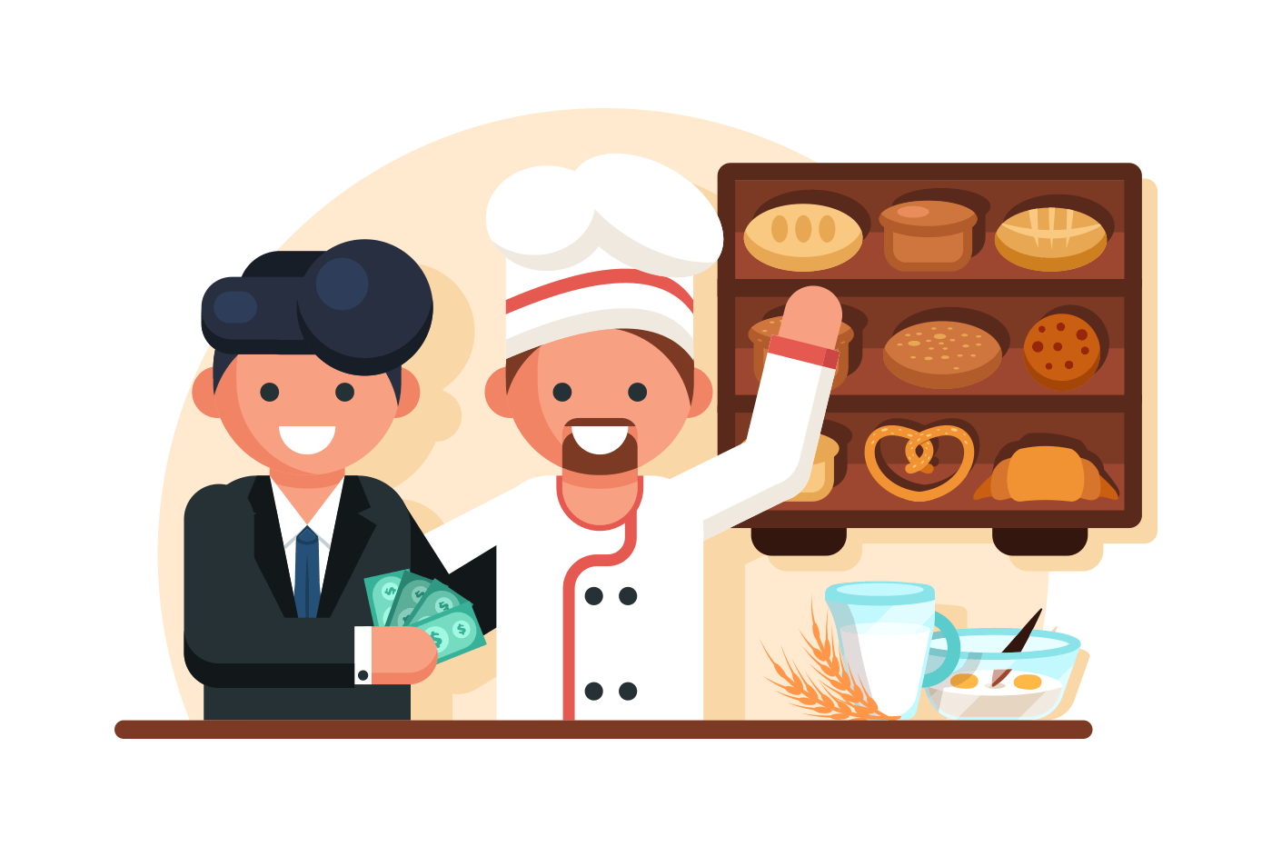 Businessman giving money man chef in bakery shop. Visitors buying bread, cakes or pastry. Flat. Vector illustration.