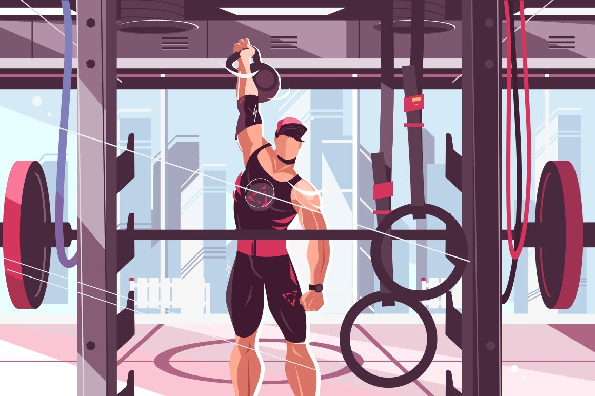 Athlete training in gym vector illustration. Strong man pumping muscles with big weight flat style design. Gymnasium interior with barbell and gymnastic rings. Healthy lifestyle concept