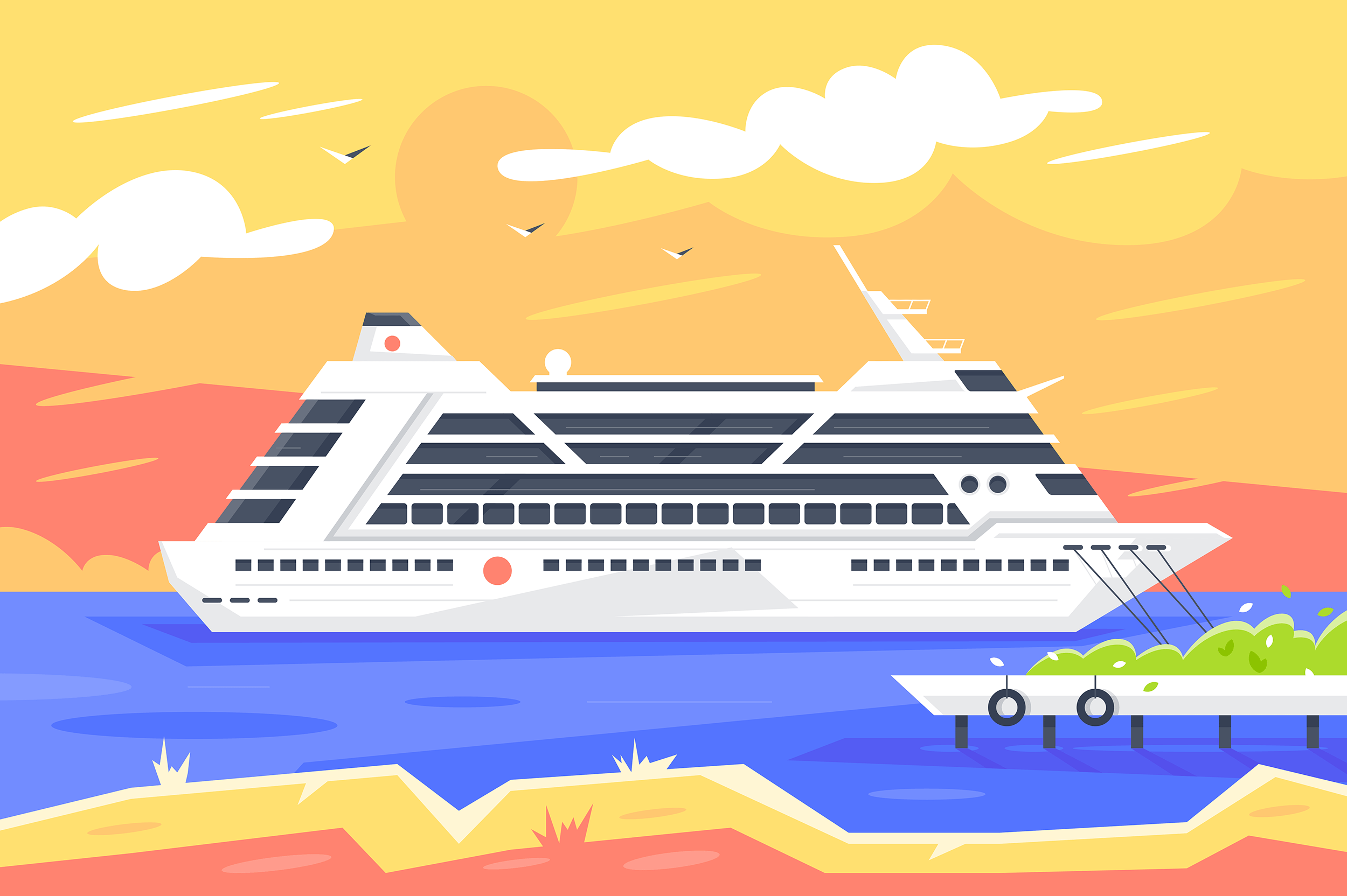Flat cruise ship for sea travel and passenger transportation.