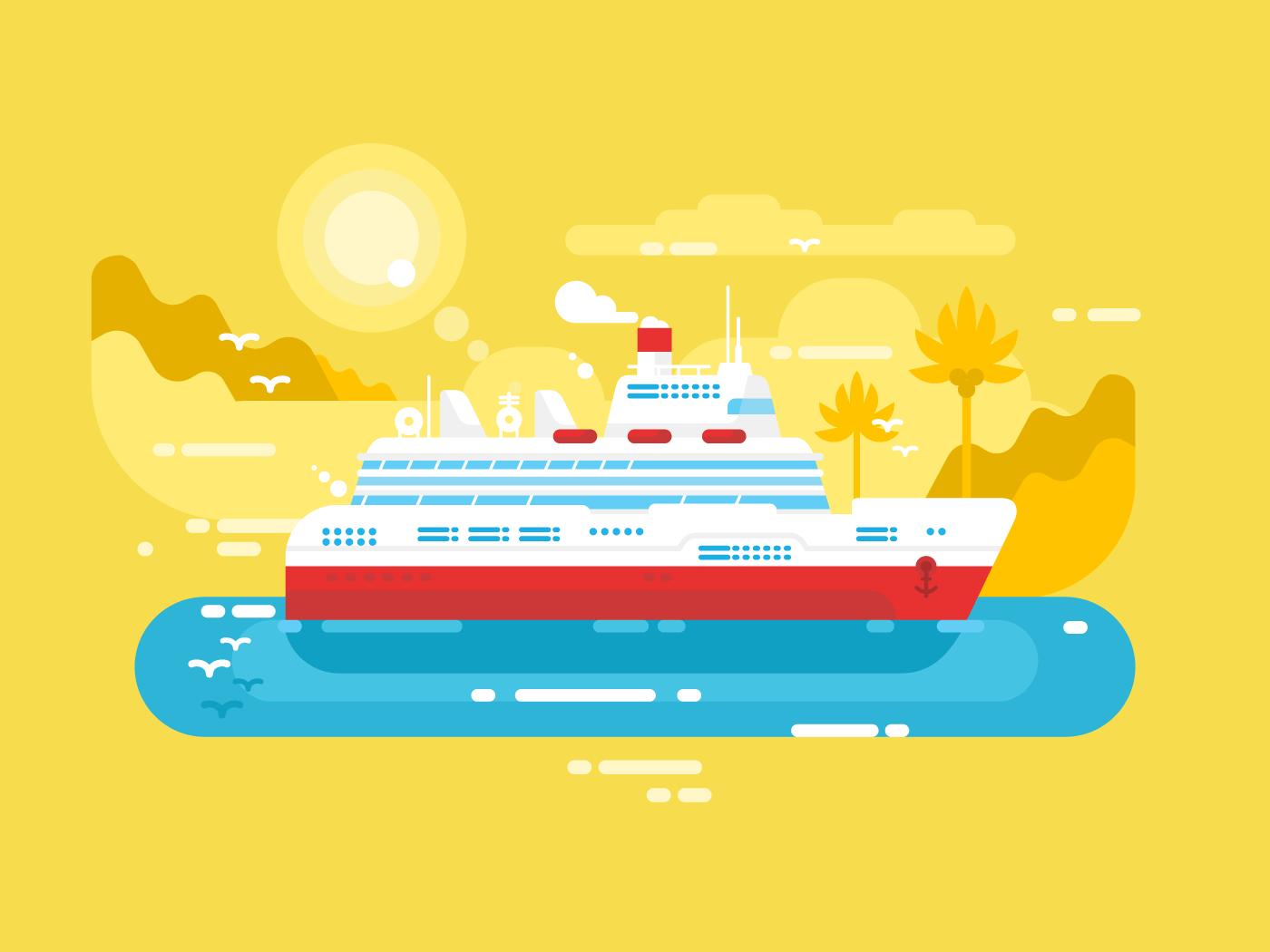 Cruise ship flat vector illustration