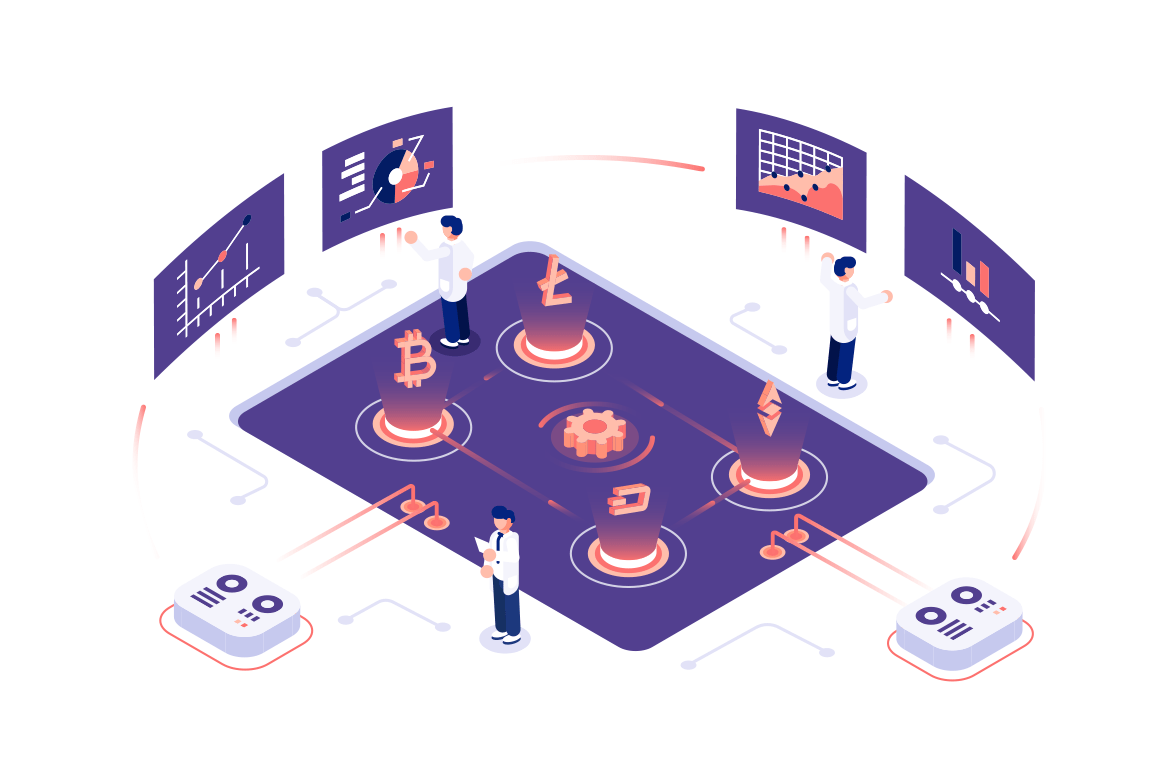 Cryptocurrency and blockchain composition with people vector illustration. Analysts and managers working on crypto start up and interacting with charts and analyzing statistics. Data visualization