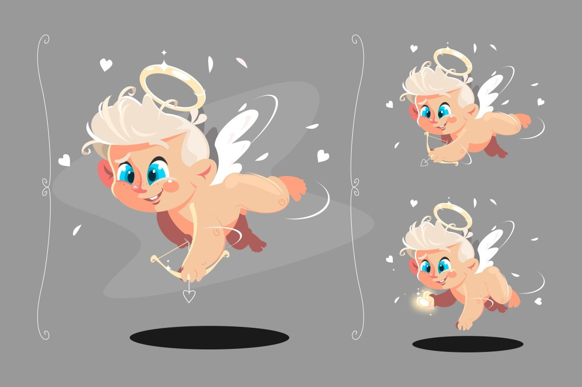 Cute baby angel flying with white wings set vector illustration. Small boy holding little bow getting ready to shoot at hearts and looking at something with interest flat style design. Cupid concept