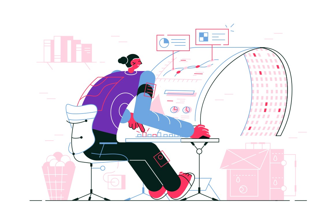 Man sitting at curved monitor vector illustration. Guy in casual clothes working at table at modern computer flat style design. Newest technology concept